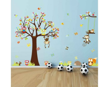 Tree Zoo Wall Sticker For Nursery, Squirrel, Fox,Owls, Monkey Wall Decal Part 84