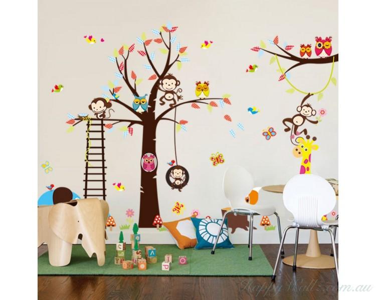 Tree Wall Sticker with Squirrel, Fox, Mushroom, Owls, Monkey, Birds, Giraffe, Elephant Zoo