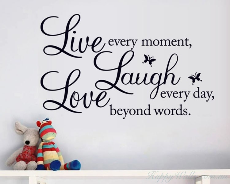 Love Wall Quotes Enchanting Laugh Love Quotes Wall Decal Life Quote Vinyl Art Stickers