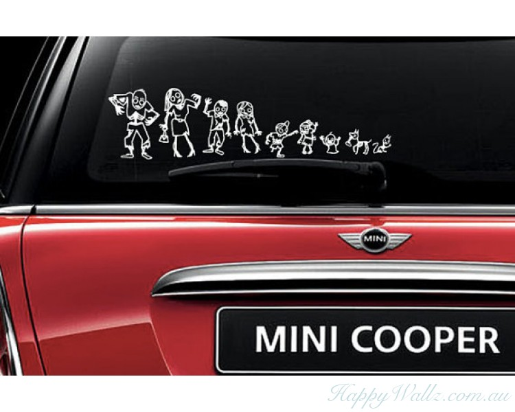 Zombie Family Stick Figures Car Decals