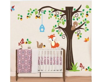 Tree Wall Sticker For Nursery, Squirrel, Fox, Mushroom Wall Decal Part 97