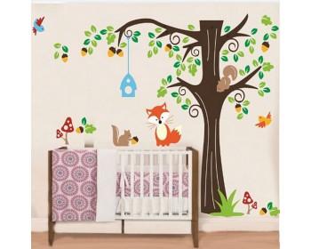Tree Wall Sticker For Nursery, Squirrel, Fox, Mushroom Wall Decal