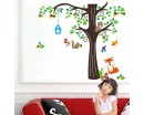 Tree Wall Sticker for Nursery, Squirrel, Fox, Mushroom Wall Decal