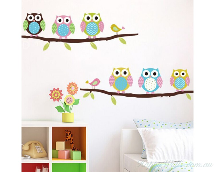 Cute Owl Wall Sticker on the Branch