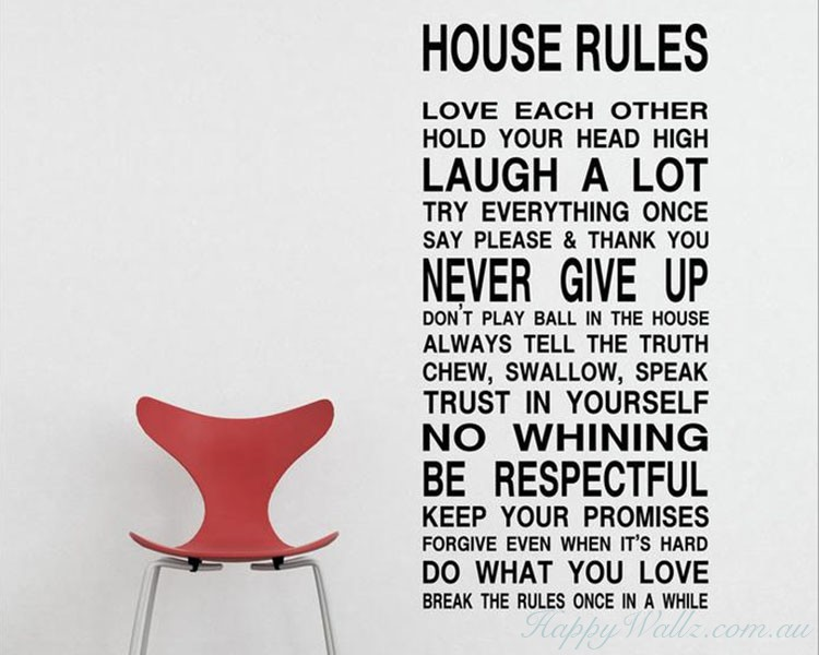 Rules Quotes Wall Decal Family Vinyl Art Stickers - House rules wall decals