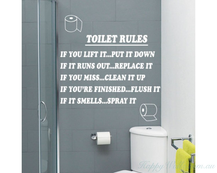 Rules Bathroom Art Wall Quote Stickers - Toilet wall stickers