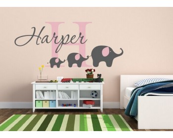 Personalised Name Monogram Sticker with Elephants & Personalised Wall Decals u0026 Quotes | Custom Your Own Family Initial ...