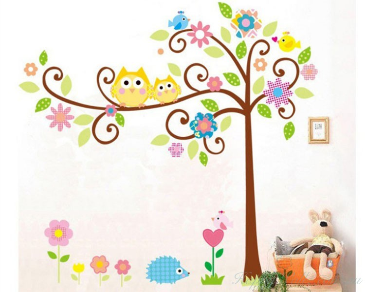 Owl Friends On The Lovely Tree Children Decal Part 92