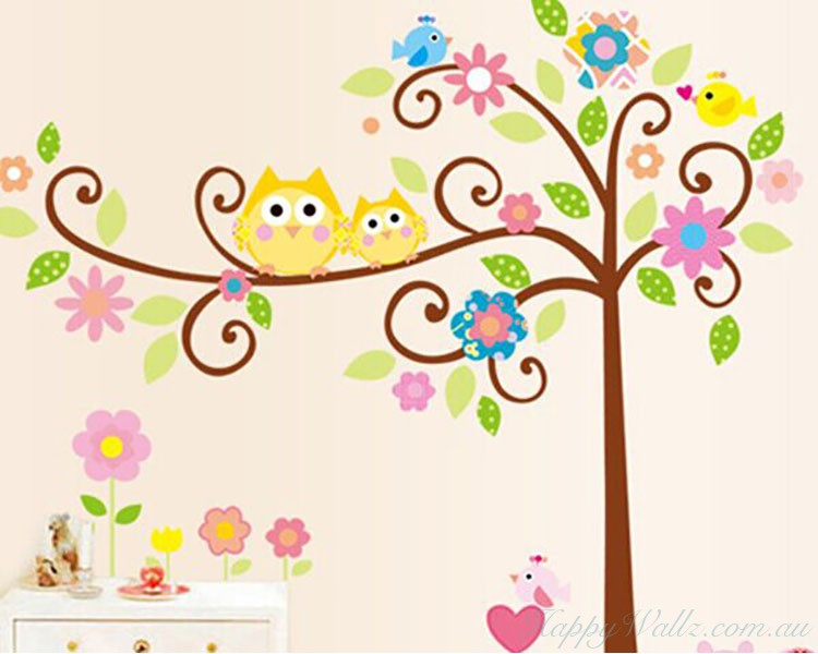 Awesome Owl Friends On The Lovely Tree Children Decal Part 30