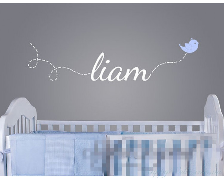 Name Decal With A Flying Bird   Custom Made Name Sticker For Boys And Girls  Rooms Part 37