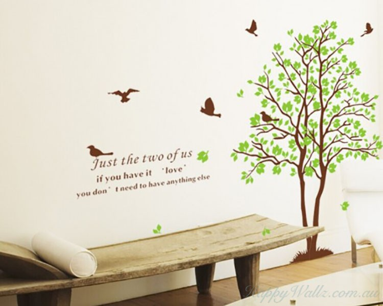 2 Trees With Green Leaves Wall Decal Part 74