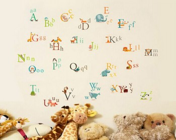 Alphabet Letters In Animals Wall Decal Nursery Sticker