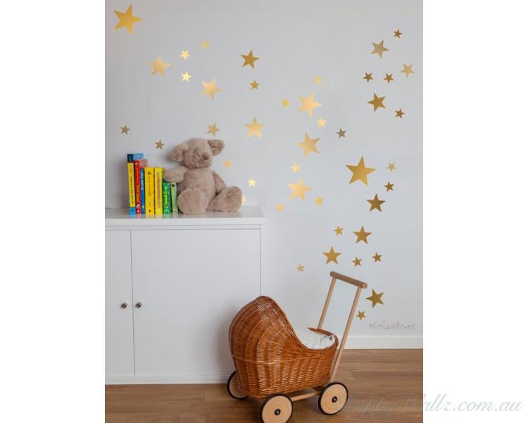 Gold Stars Decal Set, Gold Confetti Stars - 129 Stars