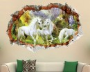 3D Effect Unicorn Landscape Wall Decal