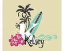 Surfer Girl Name Decal - Vintage Style Monogram - with surfboard palm trees, waves and hibiscus flowers