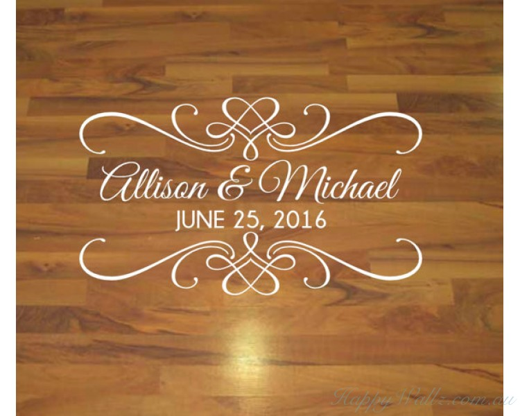 Dance floor decal in Wedding or engagement Party - Anniversary Decal on Lovers' Day-Personalized Decal in Your Name and Anniversary Date