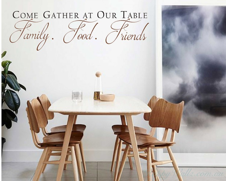 Come Gather at our Table Decal with Scroll design