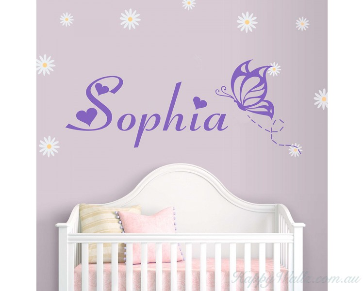 Personalized Name With Butterfly   Monogram Wall Decal