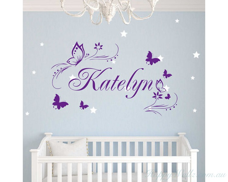Butterflies Flower Personalised Custom Girl Name Vinyl Decal