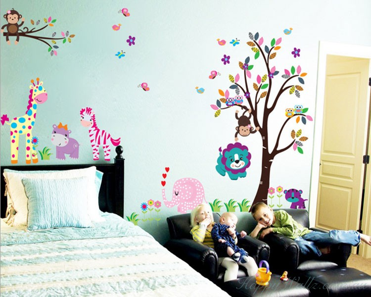 Jungle Zoo Animal Friends Kids Wall Decal