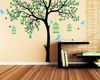 Large Tree Decal With Birds Cage Part 89