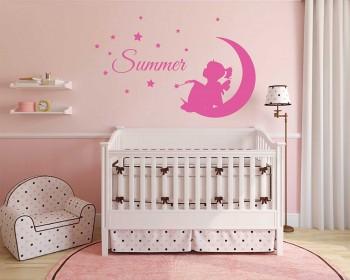 Custom Girl Name, Fairy On Moon, Stars And Bird, Nursery Bedroom Wall Decor