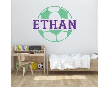 Football Customised Name Cartoon Decal For Nursery