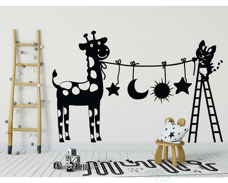 Lovely Cats And Deer Decals