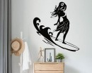 Silhouette Surfing Girl Decal