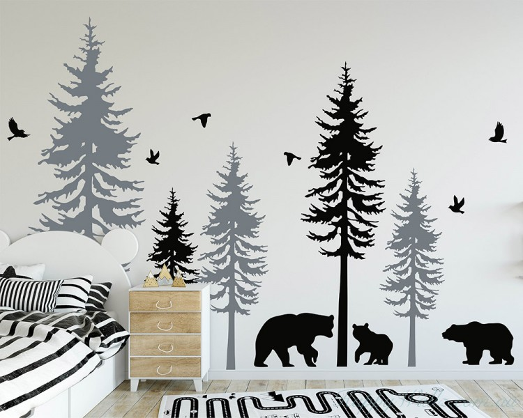 Large Woodland Pine Tree Decals