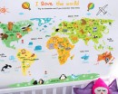 Animals World Map Wall Decal - Decal Poster for Kids Playroom