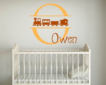 Cute Train Customised Name Initial Letter Decal For Nursery