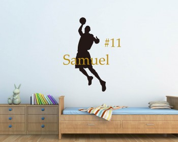 Basketball Man Customised Name With Number Decal For Children