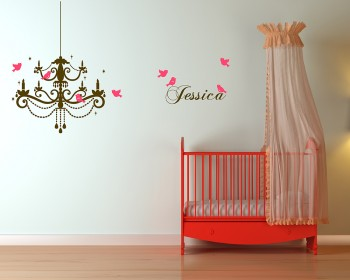 Chandelier wall stickers vinyl wall art stickers chandelier with birds customised name decal mozeypictures Gallery