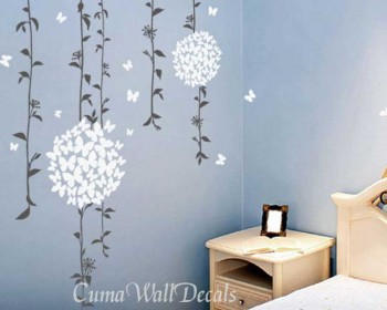 Beautiful Vines With Butterflies Flowers Wall Decals Part 92
