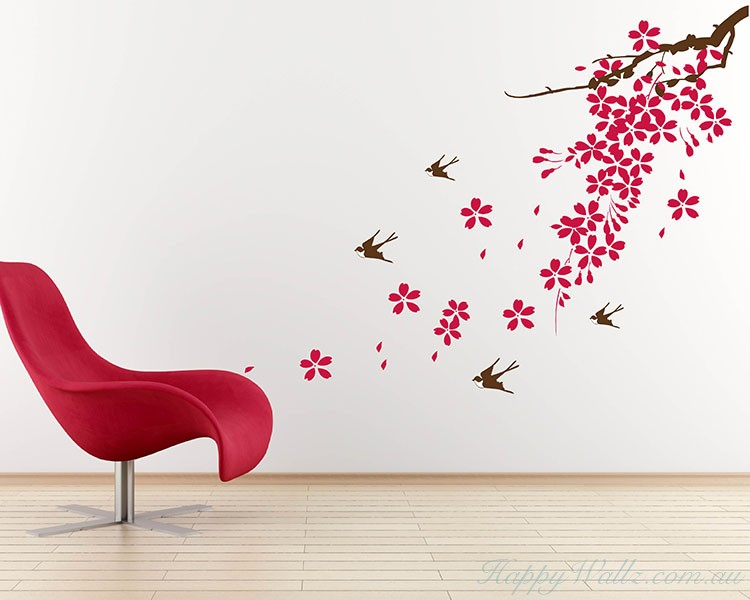 Sakura Swallows Flowers Wall Art Decal