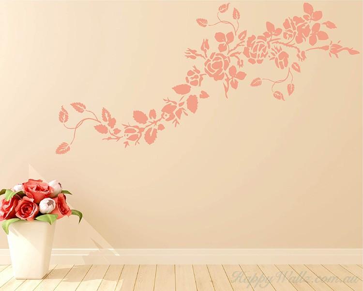 rose flower vines decals modern wall art