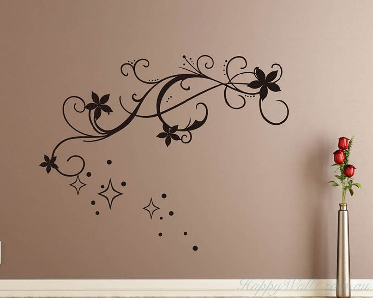 Star Floral Vines Decal
