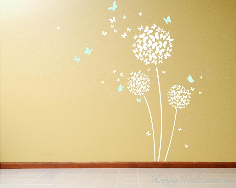 beautiful butterfly dandelion flowers wall decals