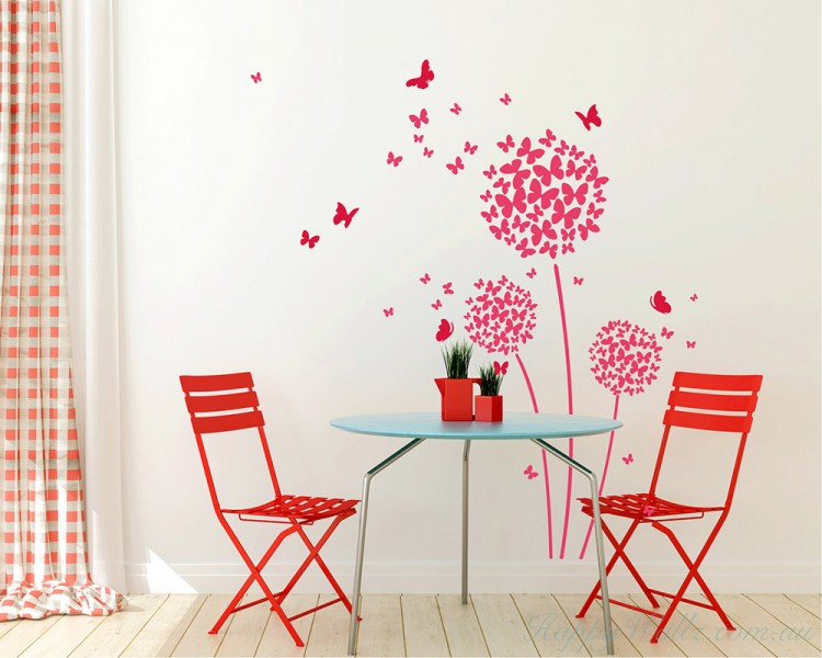 Beautiful Butterfly Dandelion Flowers Decal