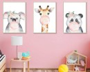 Cute Animals Blowing Bubble Frame Wall Stickers