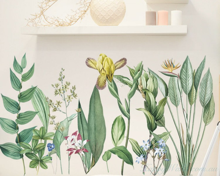Green Leaves Plants and Flowers Wall Decal
