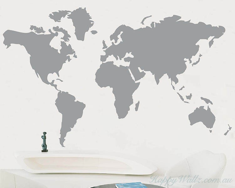 Superb Map Of The World · Map Of The World Wall Art Sticker Part 23