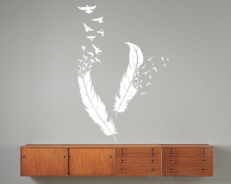 a pair of feathers modern wall art sticker