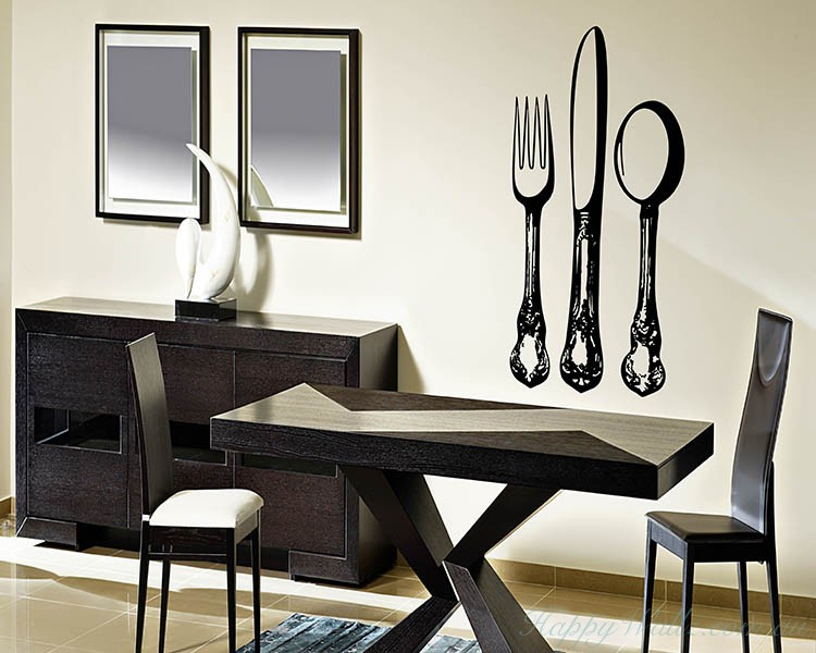 Kitchen Wares: Knife And Fork · Knife And Fork Kitchen Wall Art Sticker Part 76