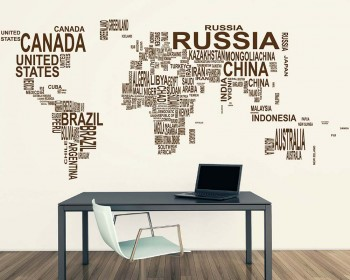 World map wall decals vinyl wall art stickers world map country names wall stickers gumiabroncs Image collections