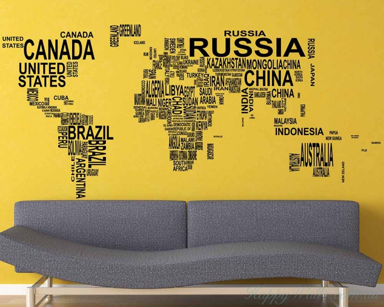 World map country names wall stickers world map country names decal gumiabroncs Images