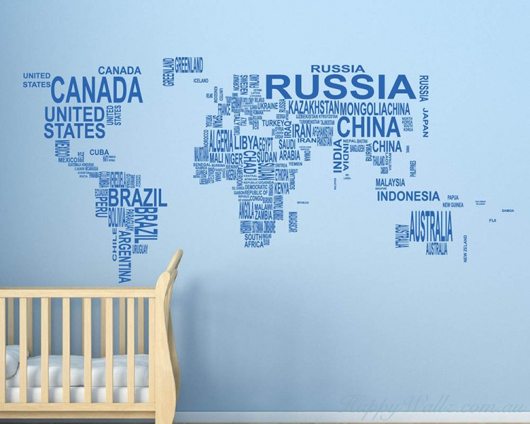 World map country names wall stickers world map country names decal gumiabroncs Gallery