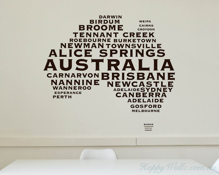 Australian Map City Names  Modern Wall Stickers
