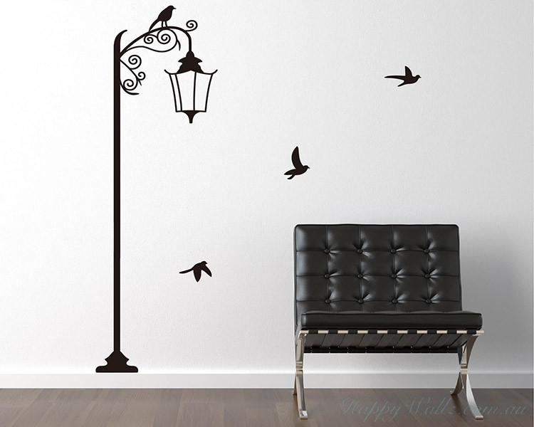 Elegant Street Lamp With Birds Decal
